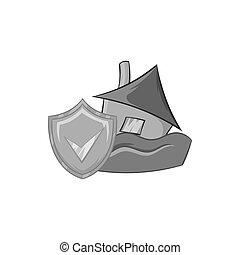 Flood insurance icon, black monochrome style