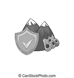 Landslide and shield with tick icon - icon in black...