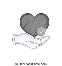 Hand holding heart with shield icon - icon in black...
