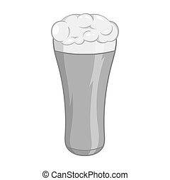 Glass of beer icon, black monochrome style - Glass of beer...