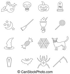 Halloween icons set in outline style. Halloween holiday...