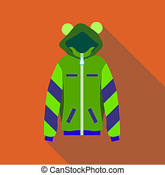 Woman green hoodie icon, flat style