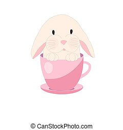 cute rabbit in teacup, illustration, set for baby fashion