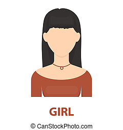 Brunette icon cartoon Single avatar,peaople icon from the...
