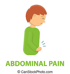 Abdominal pain icon cartoon. Single sick icon from the big ill, disease set.