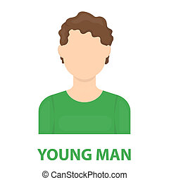 Curly boy icon cartoon Single avatar,peaople icon from the...