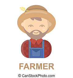 Farmer cartoon icon. Illustration for web and mobile design....