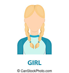 Pigtails icon cartoon Single avatar,peaople icon from the...