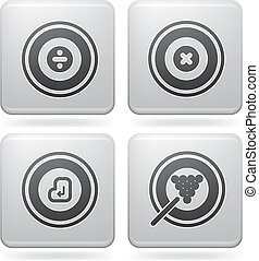 Platinum Square 2D Icons Set: Abstr