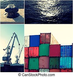 Container in port with cranes and pier and sea water collage...