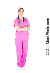 Self-assured female nurse with stethoscope smiling at the...