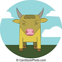 Bull on a meadow, sky with clouds - Yellow Bull with Horns...