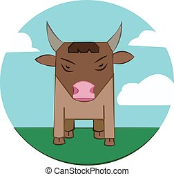 Bull on a meadow, sky with clouds - Brown Bull with Horns...