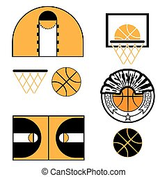 Basketball Game Objects Icons - Basketball objects Ball used...