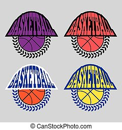 Basketball Badges with Laurel Wreath
