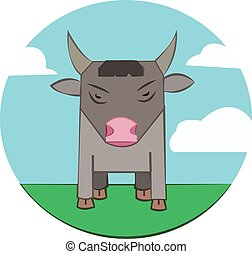 Bull on a meadow, sky with clouds - Gray Bull with Horns...