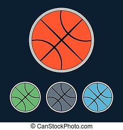 Basketball Balls Icons Set - Basketball object Ball used for...