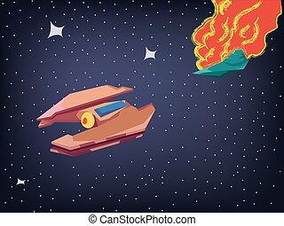 Spaceship Explosion in Cosmos - Cosmos Spaceship Battle....
