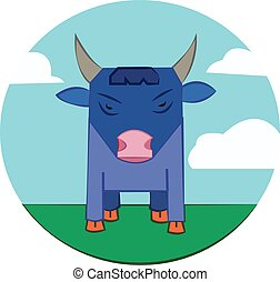 Bull on a meadow, sky with clouds - Blue Bull with Horns...