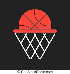 Basketball objects icon - Ball in a basket Basketball symbol...