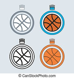 Basketball Balls Icons with Crowns - Basketball object Ball...