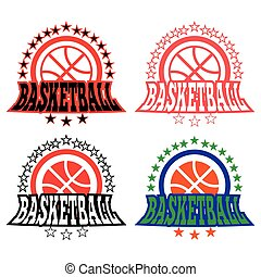 Basketball Badges with Stars - Basketball Medal Badges...