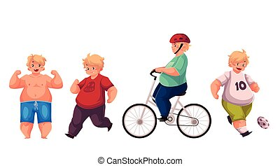 Fat boy doing sport exercises, cycling, running, playing football