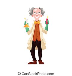 Mad professor in lab coat and green rubber gloves holding...