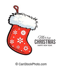 Red Christmas boot, greeting card template - Sketch style...