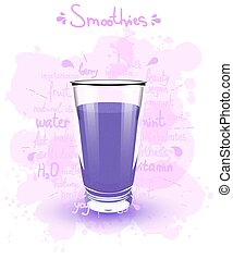 Vector illustration high glass cup with a purple smoothies....