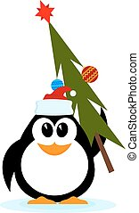Little cheerful penguin with Christmas tree in hat of Santa Claus. Cartoon style. Vector