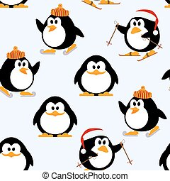 Vector seamless pattern with young penguins playing....