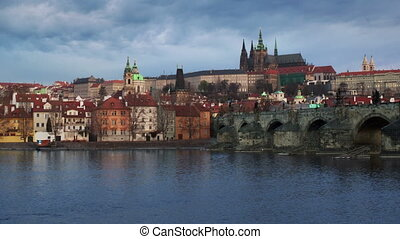 Panorama of Charles bridge, Prague, Czech Republic