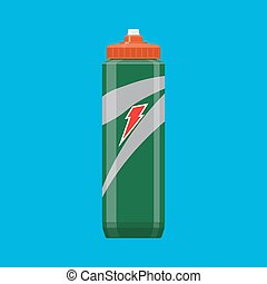 Green plastic sports bottle hydro flask water. vector...