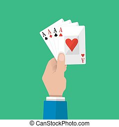 Four aces in hand. Gambling entertainment.