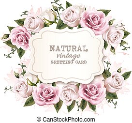 Natural vintage greeting card with roses. Vector.