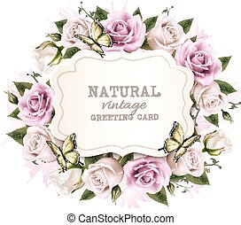 Natural vintage greeting frame with roses. Vector.