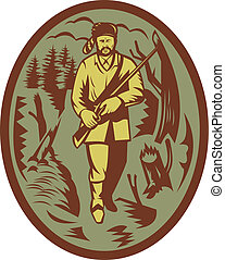 pioneer hunter trapper with rifle - illustration of a...