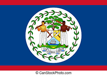 Belize Flag - Sovereign state flag of country of Belize in...