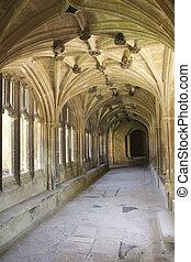 Cloister corridor - Cloister hallway at Lacock abbey in...
