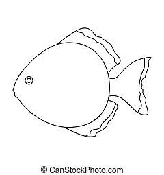 Discus fish icon line. Singe aquarium fish icon from the sea,ocean life set.