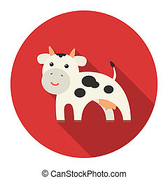 Cow icon flat. Single bio, eco, organic product icon from...