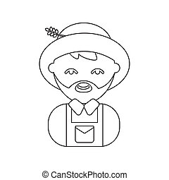 Farmer line icon. Illustration for web and mobile design. -...