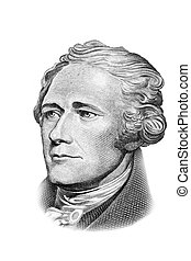 Alexander Hamilton portrait on ten US dollars banknote...