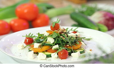 Grilled vegetables salad with cheese - Grilled vegetables...