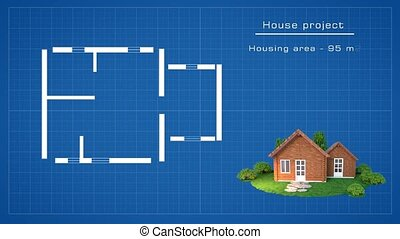 House plan with 3D wooden house illustration