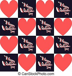Happy Valentine's Day Greeting Card. Big Red Hearts and...