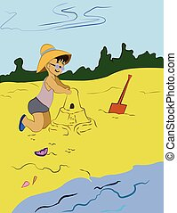 Child Making Sand Castle Vector Illustration