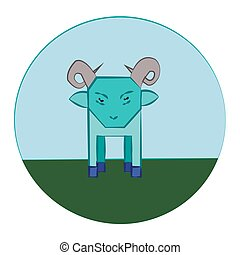 Sheep in Meadow Round Icon - Turquoise Sheep with Horns...