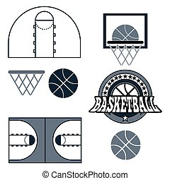 Basketball Game Objects Icons - Basketball objects...